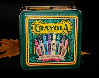 Vintage (1993) Crayola Crayons 90th Anniversary tin with lid. Great vintage Crayola advertisements.