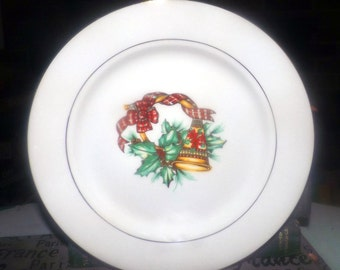 Vintage (1990s) Sonata Noel pattern salad or side plate. Christmas bell, Christmas tartan, holly, gold band.  Porcelain Christmas tableware.
