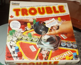 Vintage (1983) Coleco | Gabriel Pop-O-matic | Popomatic Trouble board game with original instructions. Canadian English | French edition.