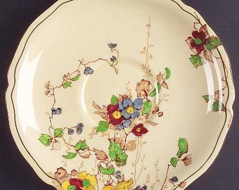 Vintage (1930s) art-nouveau inspired Royal Doulton Kew D4941 hand-painted orphan saucer only (no cup) made in England.