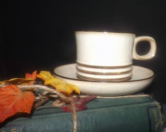 Vintage (late 1970s - mid 1980s) Denby | Denby Langley Sahara pattern cup and saucer. Cream ground, brown bands.