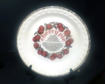 Vintage (1980s) Royal China USA | Jeannette Cherry Pie recipe pie plate. Crimped sides, recipe in center. Made in Ohio, USA.