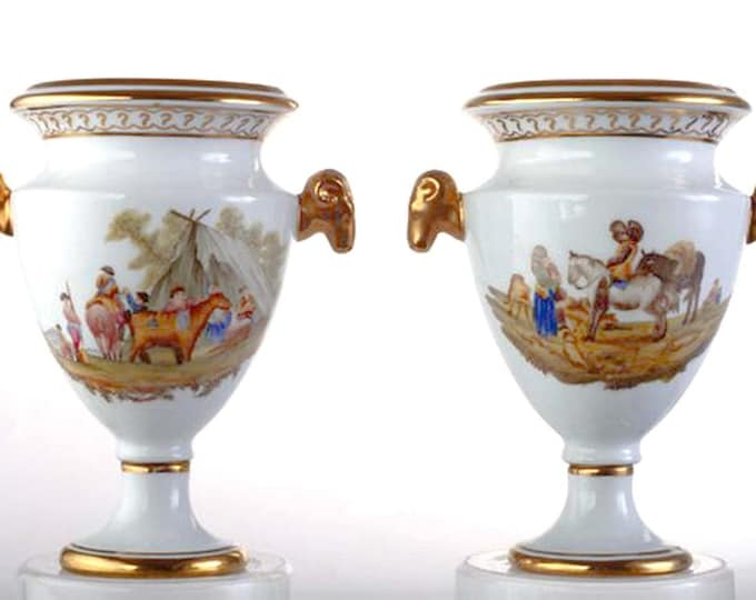 Featured listing image: Pair of antique (later 1800s) Sevres Empire-style | Brongniart hand-painted urns | vases | amphora. Golden rams head handles. Made in France