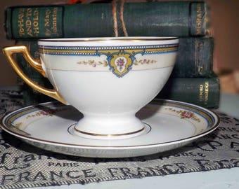 Antique (1908) Thomas Bavaria | Rosenthal The Belvedere tea set (footed cup with saucer). Gold edge, art nouveau florals, blue scrolls.