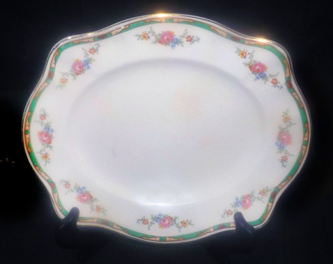 Almost antique (1920s) Johnson Brothers Connaught art nouveau vegetable serving platter. Pareek ironstone made in England.
