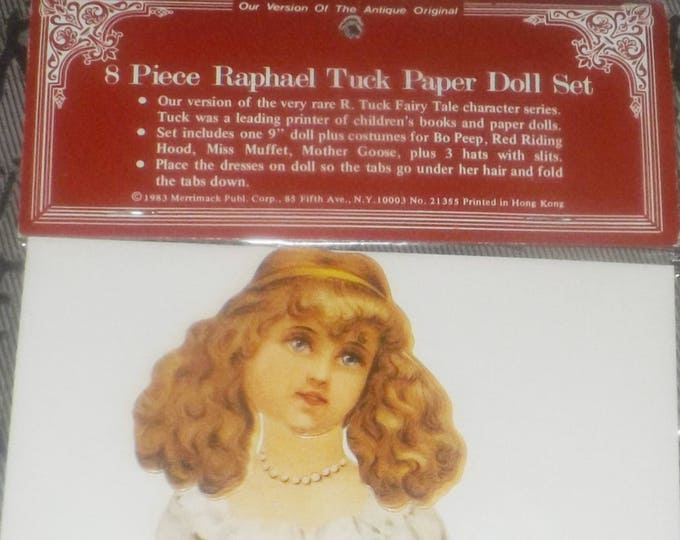 Vintage (1983) Merrimack NY reproduction set of Raphael Tuck Nursery Rhyme paper dolls and period costumes. Unopened in original packaging