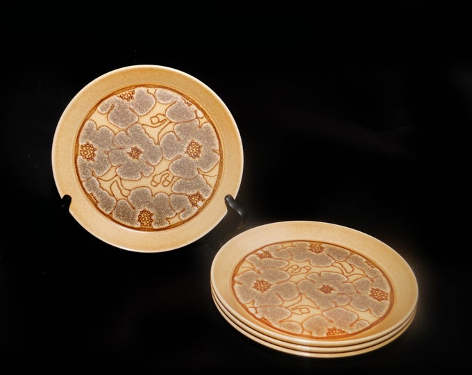 Set of four vintage (1970s) Crown Lynn Camille D627 salad or side plates. Earthstone stoneware made in New Zealand.