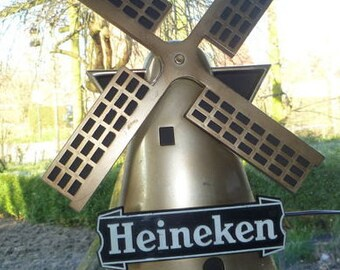 Vintage (1970s) Heineken Breweries digital clock in shape of windmill. Clock works but some LEDs out.