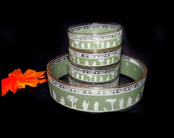 Mid century Jeannette Glass Hellenic Green five-piece salad or sherbet serving set. Serving bowl, four individual bowls. Made in the USA.