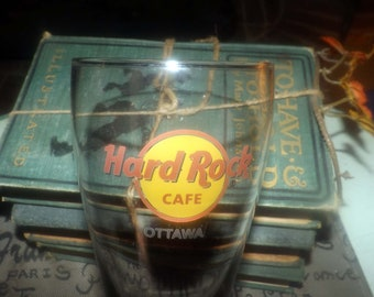 Vintage (1990s) Hard Rock Cafe Ottawa, Ontario, Canada etched-glass beer pint glass. Tapered shape, weighted base.