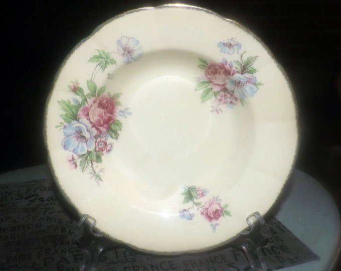 Early mid-century (1940s) William Hulme | Burgess Leigh | Leighton Pottery Royal Braemar rimmed soup bowl. Pink roses, blue flowers.