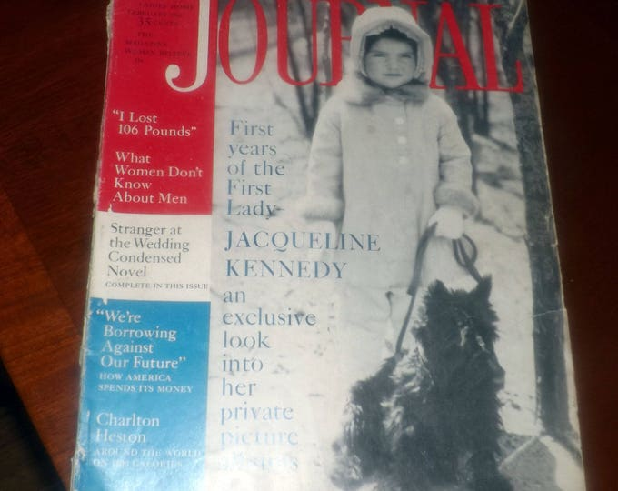 Vintage (February, 1961) Ladies Home Journal magazine featuring Jacqueline Kennedy as a child on cover. Great vintage ads. Complete.
