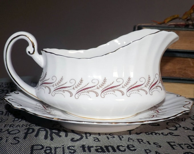 Vintage (1980s) Paragon England Harmony Red gravy boat and under-plate.