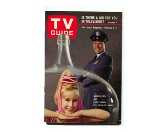 Vintage (1966) TV Guide Magazine featuring I Dream of Jeannie Barbara Eden, Larry Hagman, Smothers Brothers. February 5-11, 1966. Complete.