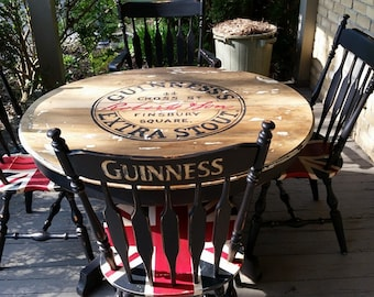 Five-piece Guinness Union Jack pub set | dining table | kitchen table | card table. Hand-painted recycled furniture.