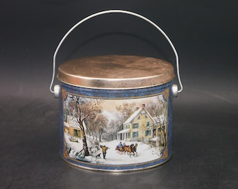 Vintage (1980s) Currier & Ives American Homestead Winter metal handled bucket   tin made in the USA.