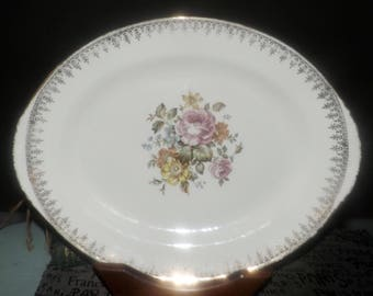 Early mid-century (early 1940s) Georgian China USA Charmaine oval, lugged vegetable serving platter. Center florals, 22K filigree, edge.