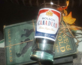 Vintage (1980s) Molson Canadian Beer tumbler | water glass.  Etched-glass artwork.  Great man gift.