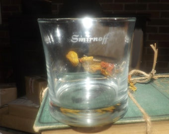 Vintage (mid 1990s) Smirnoff Vodka lo-ball, whisky, on-the-rocks glass.  Etched-glass Smirnoff wording in white.