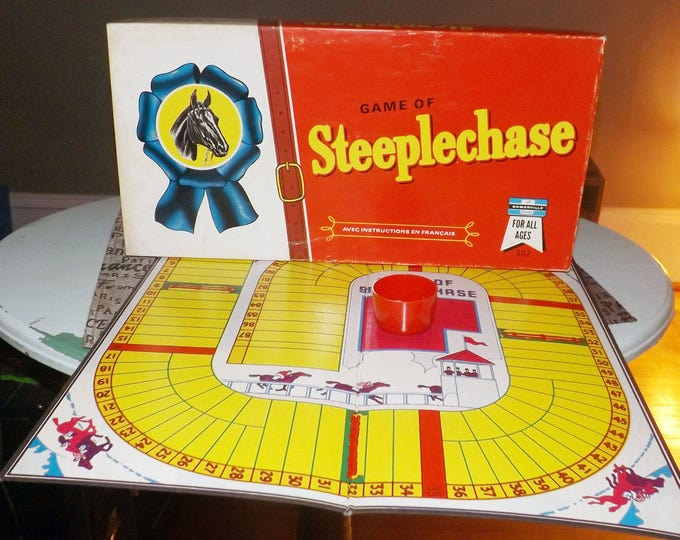 Vintage (1960s) Steeplechase Horse Racing board game published by small publisher Somerville Canada. Complete.