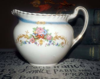 Quite vintage (1930s) Johnson Brothers Old English Kent pattern ironstone creamer | milk jug. Blue band, floral swags, gold, rope edge