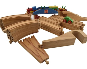 Mid century Heros Wooden Train set with magnetic coupling made in Germany.