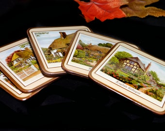 Set of five Pimpernel English Cottages square acrylic cork-backed coasters made in England. No box.