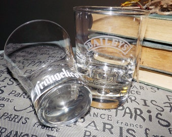 Pair of vintage tulip-shaped glasses. 1 Frangelico, 1 Baileys Irish Cream. Commercial quality, etched-glass logos | wording, weighted bases