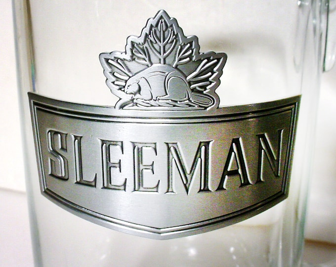 Vintage Sleeman glass 40 oz | 2.5 pint beer stein with pewter applique and maple leaf.  From the World Series Baseball Championships 1992.