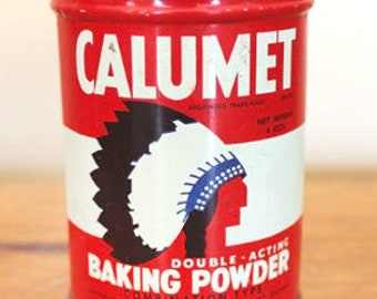 Vintage (1960s) Calumet Double-Acting Baking Powder Salesman's Sample tin. Great kitchen decor.