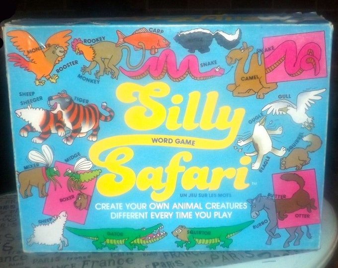 Vintage (1985) Silly Safari board game published by boutique Canadian game house First Resort sponsored by Libbys Zoodles. Complete.