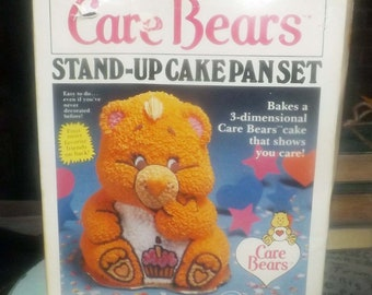 Vintage (1984) Wilton | American Greetings 3-piece 3D stand-up Care Bears cake pan set with original instructions and box. Made in Korea.