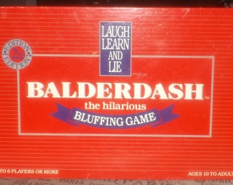 Vintage (1988) Balderdash The Hilarious Bluffing Game 2nd edition. Wooden player pawns. Published by Canada Games. Complete.