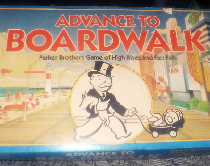 Vintage (1985) Advance to Boardwalk board game published in Canada by Parker Brothers.  Complete.
