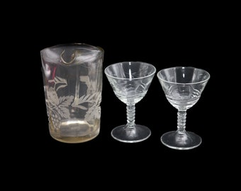 Early mid century Barlett Collins depression glass | etched glass pitcher and pair of port | sherry glasses. Etched grapes and leaves.