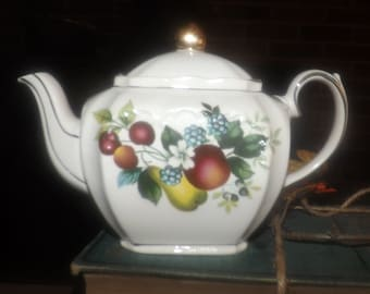 Quite vintage (1930s) Sadler hand-decorated small | personal | mini teapot with lid. Fruit, flowers both sides, gold edge, embossed accents.