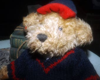 Vintage (mid 1990s) Brass Button Bears Tully teddy bear. Knitted blue and red sweater, matching velvet tam.