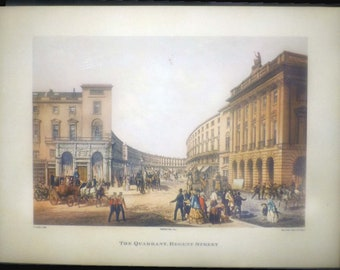 Vintage (1980s) plaqued print on board of an 1852 engraving of The Quadrant, Regent Street by Day & Son Lithographers to the Queen.