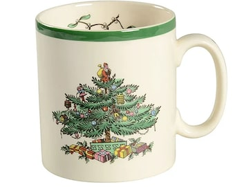 Vintage (1980s) Spode Christmas Tree S3324 coffee | tea mug. Classic Christmas tableware made in England. Sold individually.