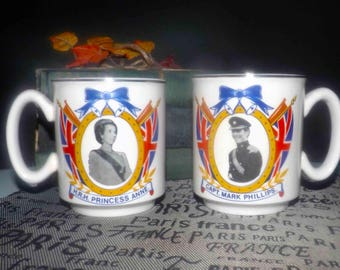 Pair of vintage (1973) Commemorative mugs celebrating Wedding of Princess Anne and Capt. Mark Phillips at Westminter Abbey. Wilsons Paignton