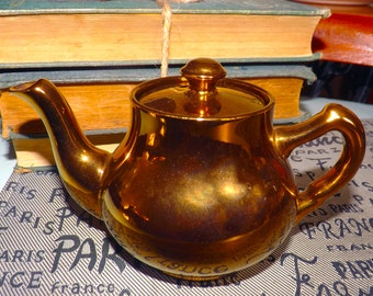 Antique (1910s) Gibson Silvoe Artware gold lusterware single-cup | mini | small teapot with lid. Hand-painted. Made in England.