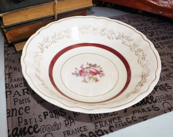 Early mid-century (1940s) Montcalm vegetable   serving bowl by Sovereign Potters. Lavish maroon and gold bands, center florals, filigree.