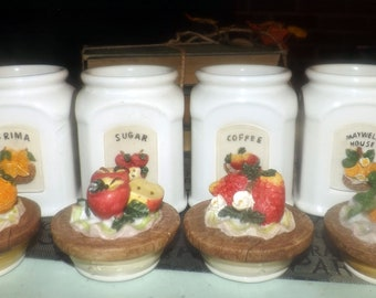 SET of 4 mid-century (1950s) majolica fruit canisters with wooden rack. Maxwell House, Frima, Coffee, Sugar. Vacuum-seals.
