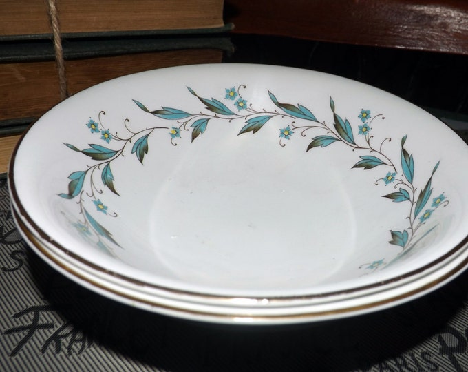 Pair of early mid-century (1940s) Myott Carisbrooke L363 Clarice Cliff coupe cereal bowls. Blue-green leaf, design. ChinaLyke ironstone.