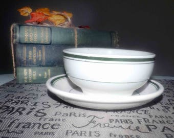 Vintage (1960s) Grindley England Vitrified White Granite Hotelware cereal, soup, salad bowl with under plate. Green stripes on white.