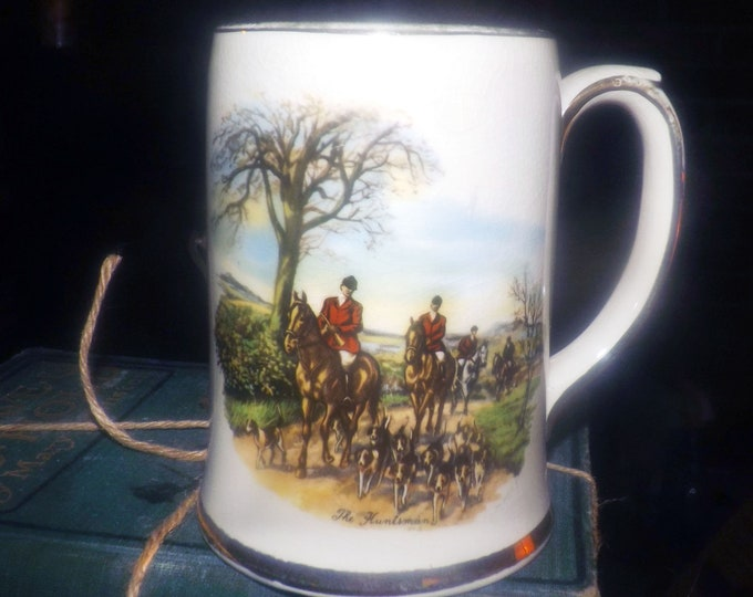 Early mid-century (1940s) Sadler The Huntsman hand-decorated stein | tankard. English fox hunt, riders on horseback, dogs, gold edge accents