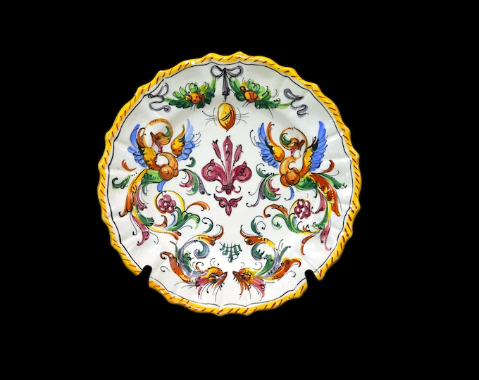 Vintage (1980s) baroque Italian pottery dueling dragons 625/2 large dinner plate. Handpainted made in Italy. Flaws (see below).