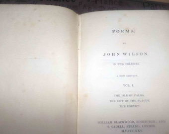 Pair of antique (1825) first-edition books Vols. 1 and 2 Wilson's Poems Professor John Wilson. Published William Blackwood. Complete.