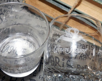 Pair of vintage glasses 1 Canadian Club Classic, 1 Crown Royal lo-ball, whisky. on the rocks. Etched logos, weighted bases.