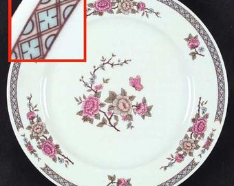 Vintage (1980s) Fairfield Fine China Serenade pattern large dinner plate. Pink, blue and white florals, brown band, gold edge.